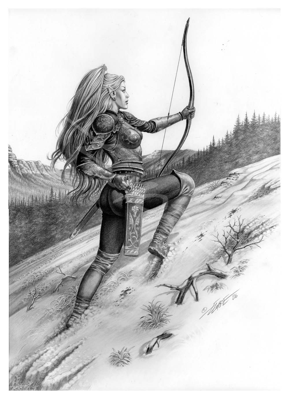 Elven Archer In The Snow